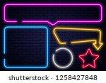 set of neon signs  arrow ... | Shutterstock .eps vector #1258427848