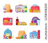 school kid lunch box. healthy... | Shutterstock . vector #1258458205