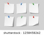 note papers. white pin blank... | Shutterstock . vector #1258458262