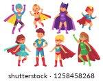 cartoon superhero kids...   Shutterstock . vector #1258458268