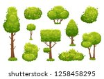 cartoon trees and bushes. green ...   Shutterstock . vector #1258458295
