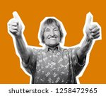 old happy woman showing ok sign ... | Shutterstock . vector #1258472965