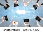 group of people with devices in ...   Shutterstock . vector #1258474522