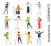 musician singers people. vocal... | Shutterstock .eps vector #1258480672