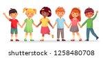 happy kids team. multinational...   Shutterstock .eps vector #1258480708