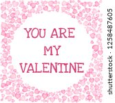 you are my valentine text in a... | Shutterstock .eps vector #1258487605