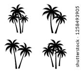 Stock vector a palm tree silhouette set 1258493905