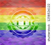 attic emblem on mosaic... | Shutterstock .eps vector #1258526122