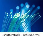 bundle of optical fibers with... | Shutterstock . vector #1258564798