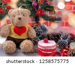 cute teddy bear wearing yellow...   Shutterstock . vector #1258575775
