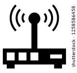 wifi router glyph icon | Shutterstock .eps vector #1258586458