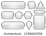 white glass buttons with chrome ... | Shutterstock . vector #1258602358