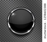 black button on perforated... | Shutterstock . vector #1258602388