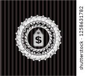 money tag icon inside silvery...   Shutterstock .eps vector #1258631782