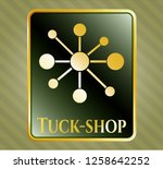gold badge or emblem with...   Shutterstock .eps vector #1258642252