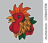 flash chicken head tattoo ... | Shutterstock .eps vector #1258642558