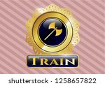 shiny badge with medieval axe...   Shutterstock .eps vector #1258657822