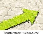 grass arrow on crack ground.... | Shutterstock . vector #125866292