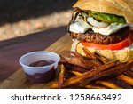 grilled plant based burger... | Shutterstock . vector #1258663492