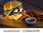 grilled plant based burger... | Shutterstock . vector #1258663498