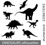 dinosaurs silhouettes vector... | Shutterstock .eps vector #1258673392