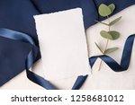 navy blue wedding invitation...   Shutterstock . vector #1258681012