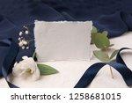 navy blue wedding invitation...   Shutterstock . vector #1258681015