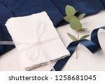 navy blue wedding invitation...   Shutterstock . vector #1258681045