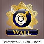 gold badge with gender...   Shutterstock .eps vector #1258701595