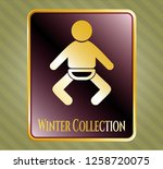 shiny badge with baby icon and ...   Shutterstock .eps vector #1258720075
