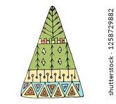 vector ornate colored christmas ... | Shutterstock .eps vector #1258729882