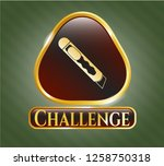 gold badge or emblem with...   Shutterstock .eps vector #1258750318
