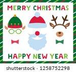 santa and elf hats  deer... | Shutterstock .eps vector #1258752298