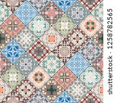 abstract patterns in the mosaic ... | Shutterstock .eps vector #1258782565
