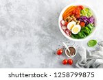 buddha bowl salad with... | Shutterstock . vector #1258799875