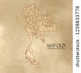 old thailand map with vintage... | Shutterstock .eps vector #1258833778