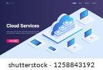 cloud service site concept. vds ... | Shutterstock .eps vector #1258843192