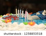 birthday cake with 6 candles | Shutterstock . vector #1258853518