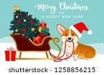 cute corgi dog in santa hat... | Shutterstock .eps vector #1258856215