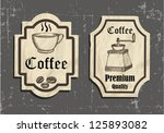 vintage coffee labels on old... | Shutterstock .eps vector #125893082