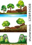 set of nature landscape... | Shutterstock .eps vector #1258934308