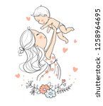 mother with baby | Shutterstock .eps vector #1258964695