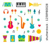 vector set of music instruments ... | Shutterstock .eps vector #1258980028