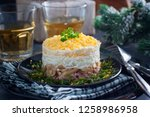 salad in layers with canned...   Shutterstock . vector #1258986958