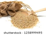 food background. brown rice in... | Shutterstock . vector #1258999495
