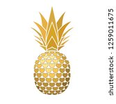pineapple golden sign with... | Shutterstock . vector #1259011675