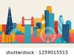 london city illustration.... | Shutterstock .eps vector #1259015515