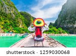 summer lifestyle traveler woman ... | Shutterstock . vector #1259030068