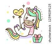 unicorn cute cartoon... | Shutterstock .eps vector #1259039125
