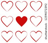set hearts with calligraphic... | Shutterstock .eps vector #1259072392